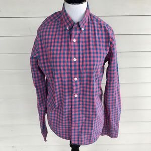Untuckit Pink Blue Plaid Cotton Long Sleeve Shirt